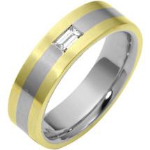 Two-Tone 14 Karat Gold 6.5mm Diamond Comfort Fit Wedding Band Ring