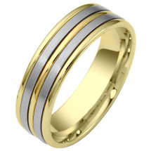 6.5mm Traditional 14 Karat Two-Tone Gold Comfort Fit Wedding Band Ring