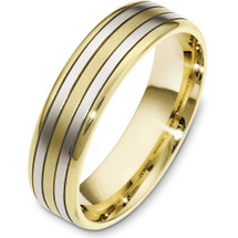 6mm 14 Karat Two-Tone Gold Plain Wedding Band Ring