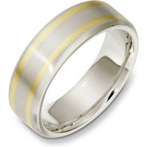 Plain 7mm 14 Karat Two-Tone Gold Wedding Band Ring