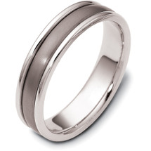 6mm Wide Titanium & 14 Karat White Gold Wedding Band Ring
