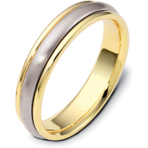 5mm 14 Karat Traditional Style Two-Tone Gold Comfort Fit Wedding Band Ring