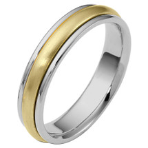 5mm Traditional Style Two-Tone 14 Karat Gold Comfort Fit Wedding Band Ring
