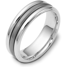 Titanium & 14 Karat White Gold 7mm Wide Wedding Band Ring