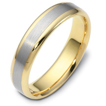 Traditional Style 5mm 14 Karat Gold Two-Tone Comfort Fit Wedding Band Ring