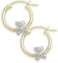 Two-Toned Teddy Bear Baby Gold Earrings