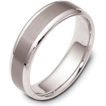 6mm Wide Stylish Titanium & 14 Karat White Gold Wedding Band Ring