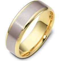 6.5mm Wide Two-Tone 14 Karat Gold Wedding Band Ring