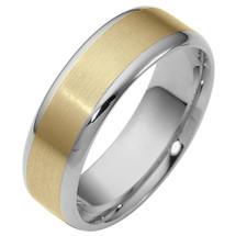 6.5mm Two-Tone 14 Karat Gold Wedding Band Ring