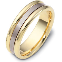 6.5mm Traditional Style 14 Karat Two-Tone Gold Comfort Fit Wedding Band Ring