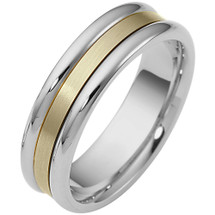 6.5mm Traditional Style Two-Tone 14 Karat Gold Comfort Fit Wedding Band Ring