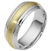 7.5mm Traditional Style Two-Tone 14 Karat Gold Comfort Fit Wedding Band Ring