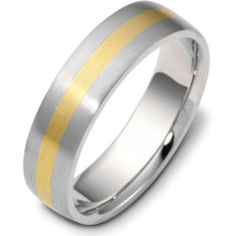 7mm Flat Style Two-Tone 14 Karat Gold Comfort Fit Wedding Band Ring