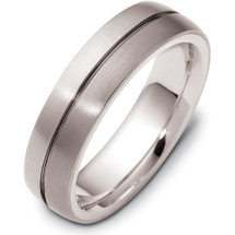 Designer 6mm Titanium & 14 Karat White Gold Comfort Fit Wedding Band Ring