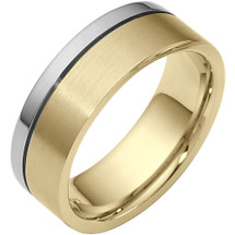 Designer 7.5mm Two-Tone 14 Karat Gold Wedding Band Ring