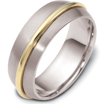 7.5mm Traditional Style 14 Karat Two-Tone Gold Comfort Fit Wedding Band Ring