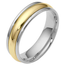 6mm Traditional Style 14 Karat Two-Tone Gold Comfort Fit Wedding Band Ring