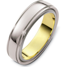 Plain 6mm 14 Karat Two-Tone Gold Wedding Band Ring