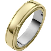 Stylish 6mm 14 Karat Two-Tone Gold Wedding Band Ring