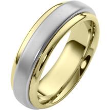Stylish 7mm 14 Karat Two-Tone Gold Wedding Band Ring