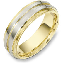 7mm 14 Karat Two-Tone Gold Wedding Band Ring
