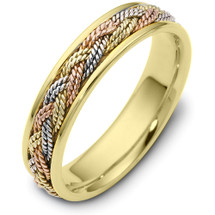 5mm Wide Woven Style Tri-Color 14 Karat Gold Wedding Band Ring