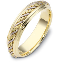 5.5mm Wide Woven Style Two-Tone 14 Karat Gold Wedding Band Ring
