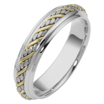 5.5mm Woven Style Two-Tone 14 Karat Gold Wedding Band Ring
