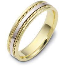 Woven Style Two-Tone 14 Karat Gold 5mm Comfort Fit Wedding Band Ring