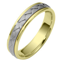5mm Woven Style Two-Tone 14 Karat Gold Comfort Fit Wedding Band Ring