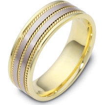 Woven Style Two-Tone 14 Karat Gold 7mm Comfort Fit Wedding Band Ring