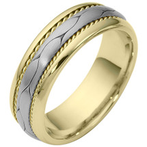 7mm Woven Style Two-Tone 14 Karat Gold Comfort Fit Wedding Band Ring