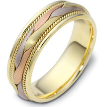 6.5mm Wide Woven Style Tri-Color 14 Karat Gold Wedding Band Ring