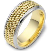 Rope Style 14 Karat Two-Tone Gold 8.5mm Comfort Fit Wedding Band Ring