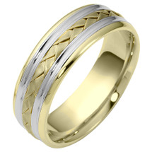7mm Wide Woven Style Two-Tone 14 Karat Gold Comfort Fit Wedding Band Ring