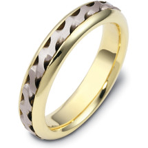 Wave Style Two-Tone 14 Karat Gold 5mm Comfort Fit Wedding Band Ring