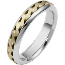 5mm Wave Style Two-Tone 14 Karat Gold Comfort Fit Wedding Band Ring