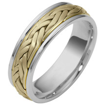 7mm Woven Style 14 Karat Two-Tone Gold Comfort Fit Wedding Band Ring
