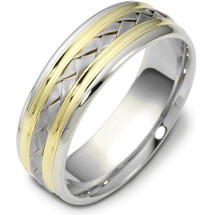 7mm Wide Woven Style High Polish Two-Tone 14 Karat Gold Comfort Fit Wedding Band Ring