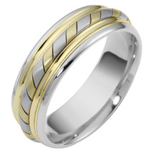 Woven Style 7mm Two-Tone 14 Karat Gold Comfort Fit Wedding Band Ring