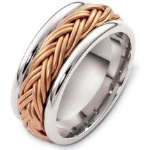9.5mm 14 Karat Two-Tone Woven Style Wedding Band Ring