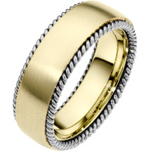 7.5mm 14 Karat Two-Tone Gold Woven Style Wedding Band