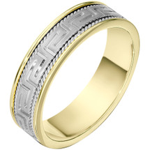 6mm Greek Key 14 Karat Two-Tone Gold Comfort Fit Wedding Band