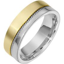 7mm Woven Style 14 Karat Two-Tone Gold Wedding Band