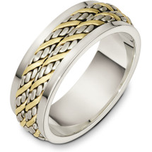 7.5mm 14 Karat Two-Tone Gold Woven Style Wedding Band Ring