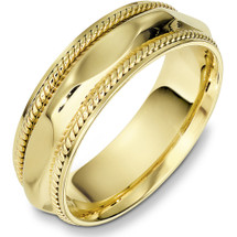 7mm 14 Karat Yellow Gold Woven Style Wedding Band Ring