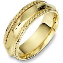 7mm 14 Karat Yellow Gold Woven Style Wedding Band Ring