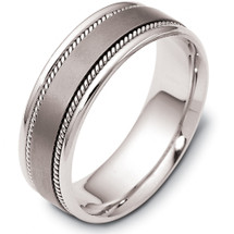 7mm Platinum and Titanium Wedding Band Ring