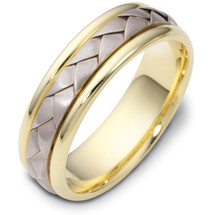 6mm Wide Woven Style Two-Tone 14 Karat Gold Comfort Fit Wedding Band Ring