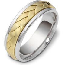 7mm Wave Style Two-Tone 14 Karat Gold Comfort Fit Wedding Band Ring